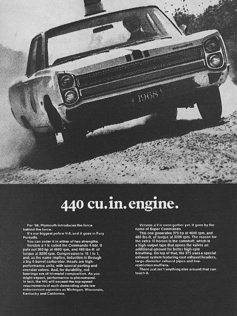 1968 Plymouth Fury Ad