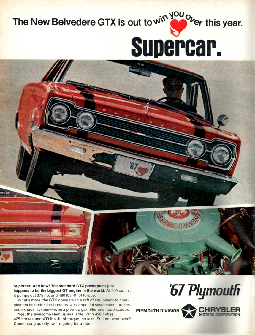 1967 Plymouth Belvedere GTX Ad