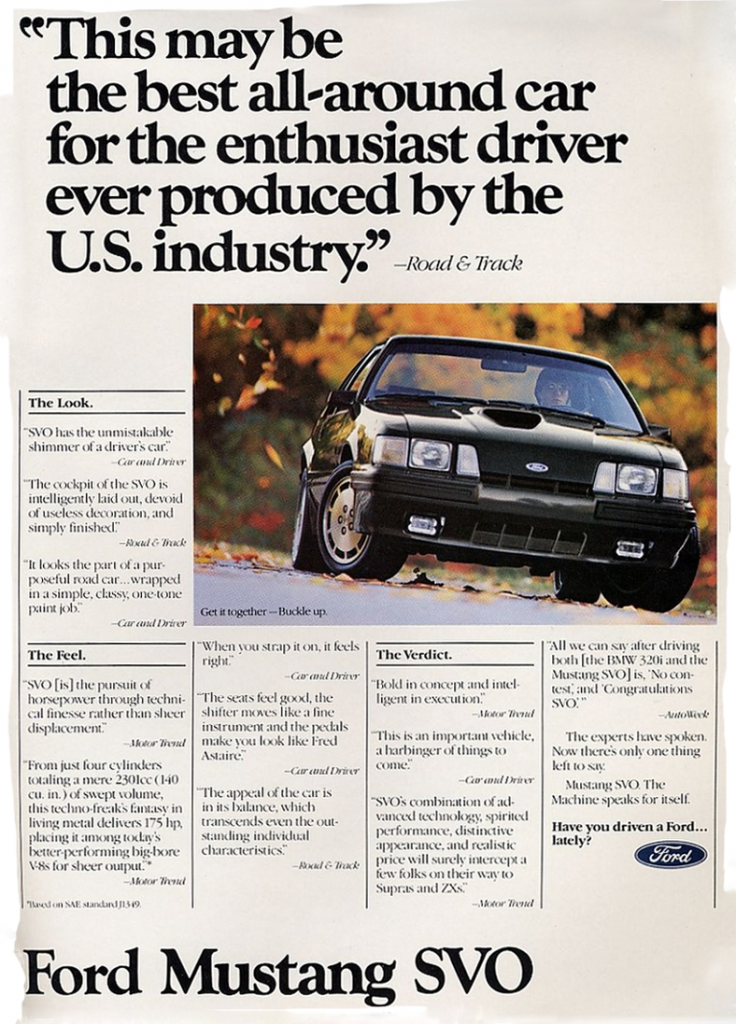 1984 Ford Mustang SVO Ad