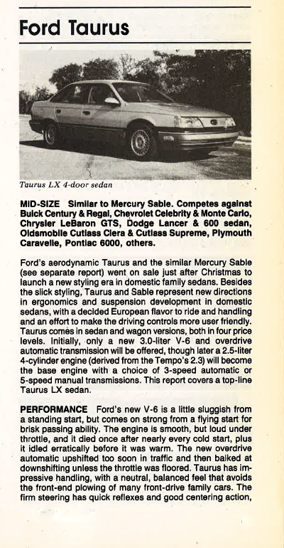 1986 Ford Taurus Review