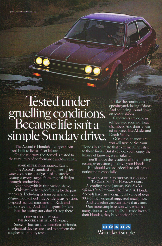 1981 Honda Accord Ad