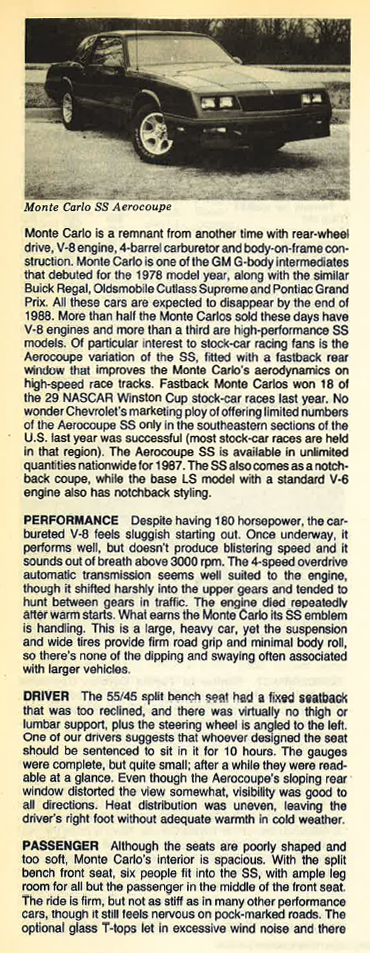 1987 Chevrolet Monte Carlo SS Review