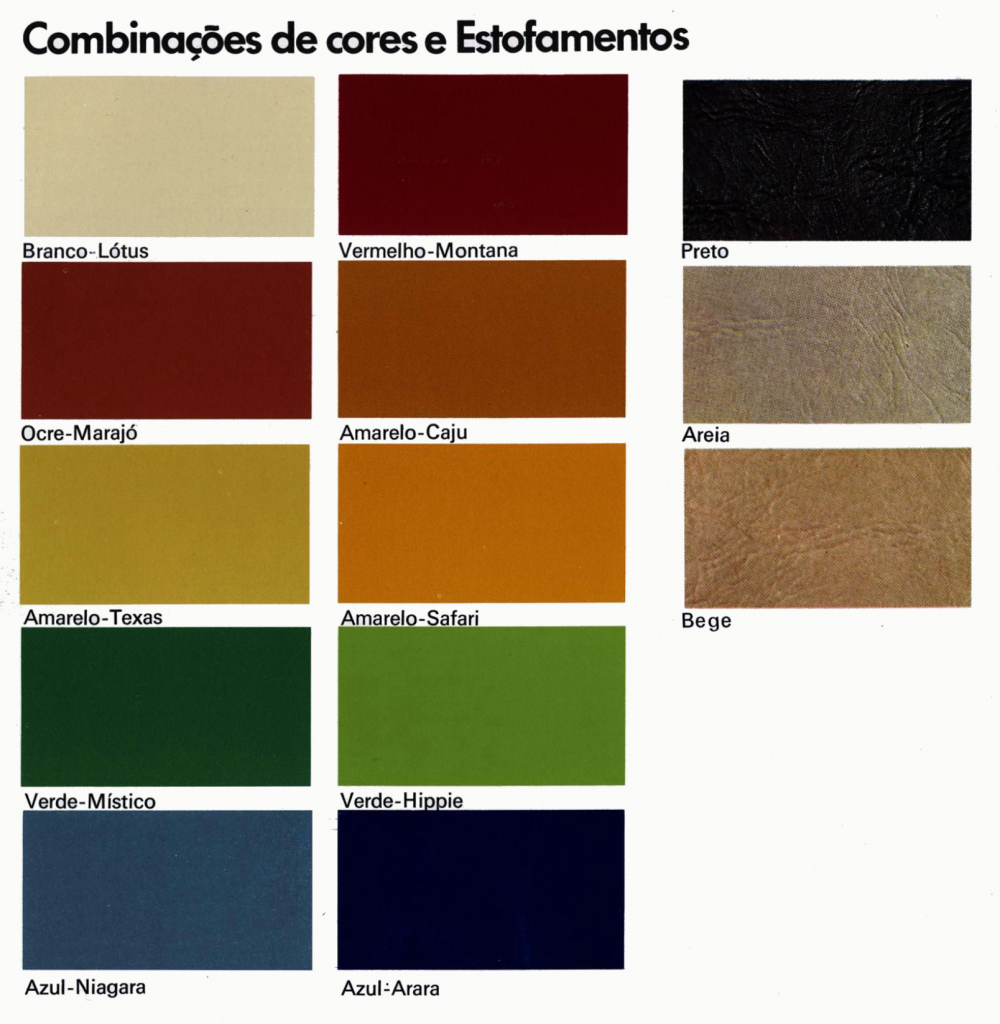 Volkswagen SP2 color chart
