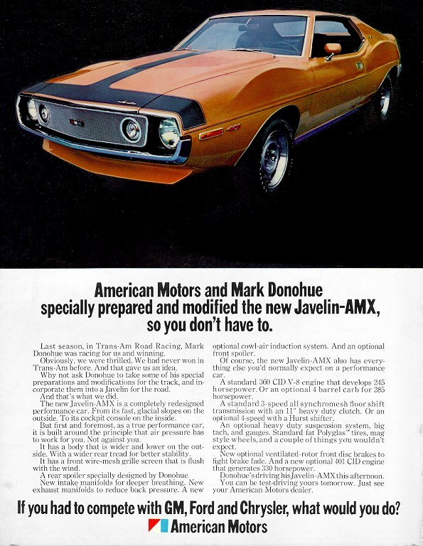 1971 AMC Javelin Ad, Mark Donohue