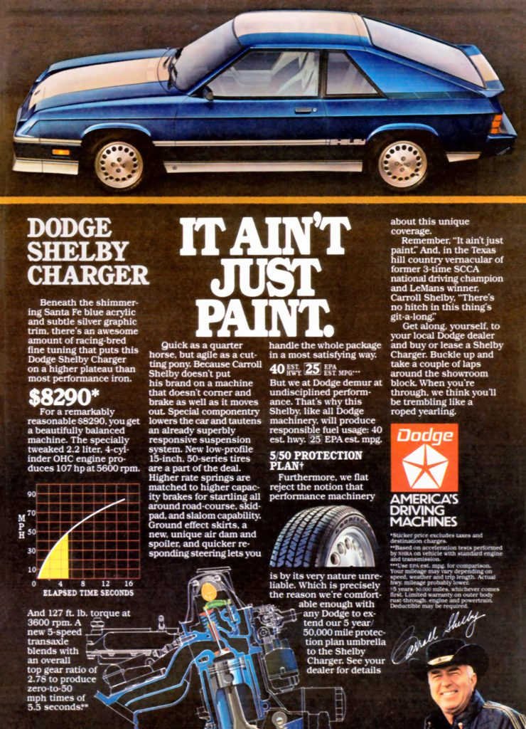 1984 Dodge Shelby Charger Ad