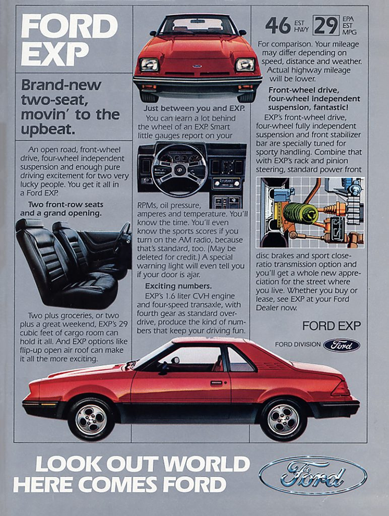 1984 Ford EXP Ad