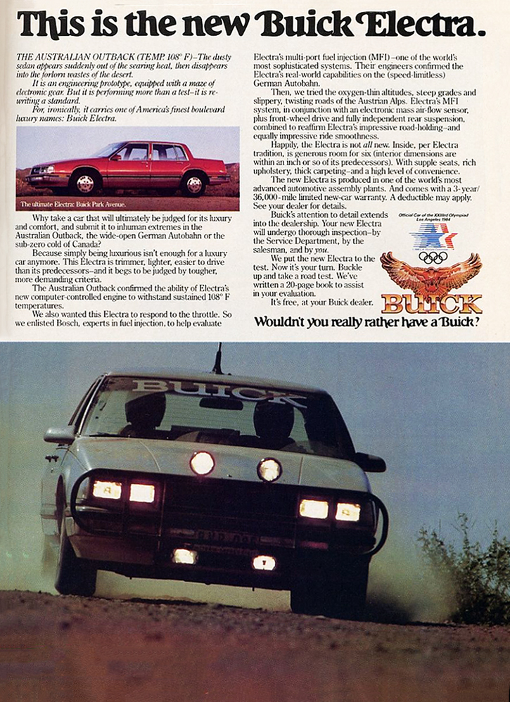 1985 Buick Electra, Classic Ads From 1985