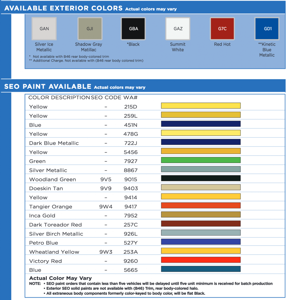 Chevrolet Express Fleet Color Chart