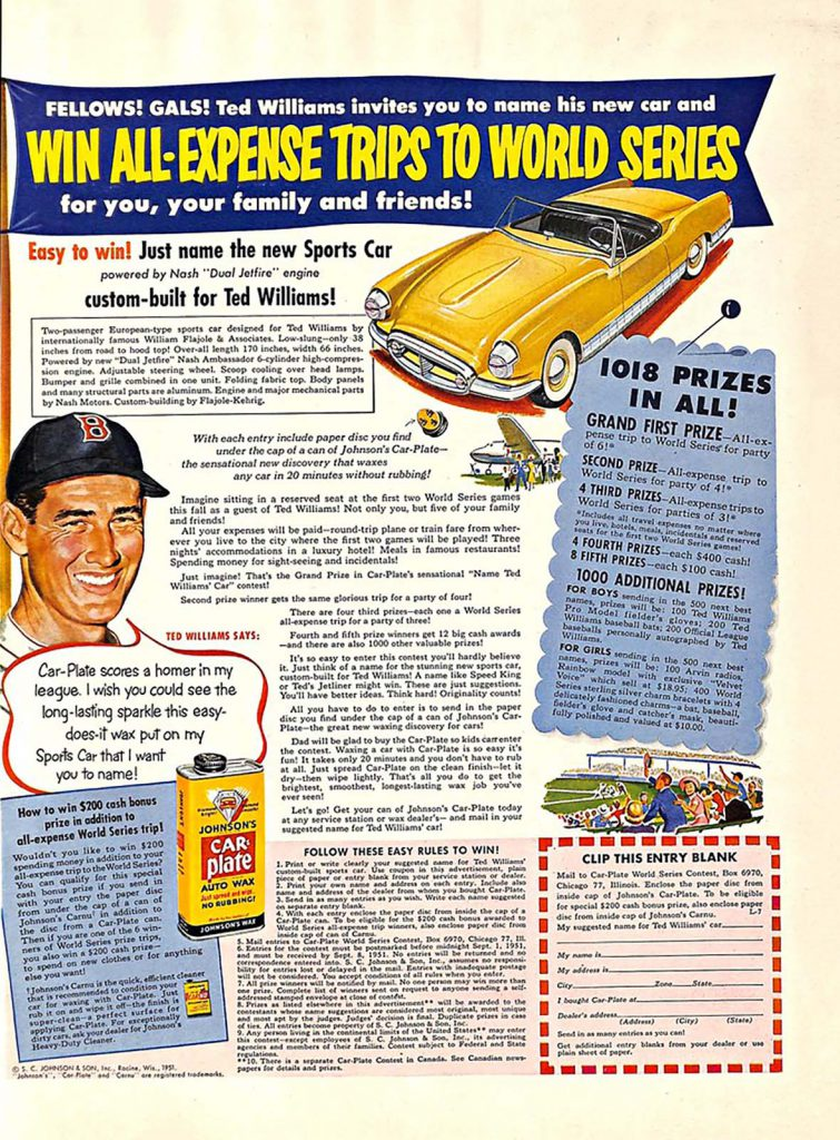 Car Plate ad featuring Ted Williams