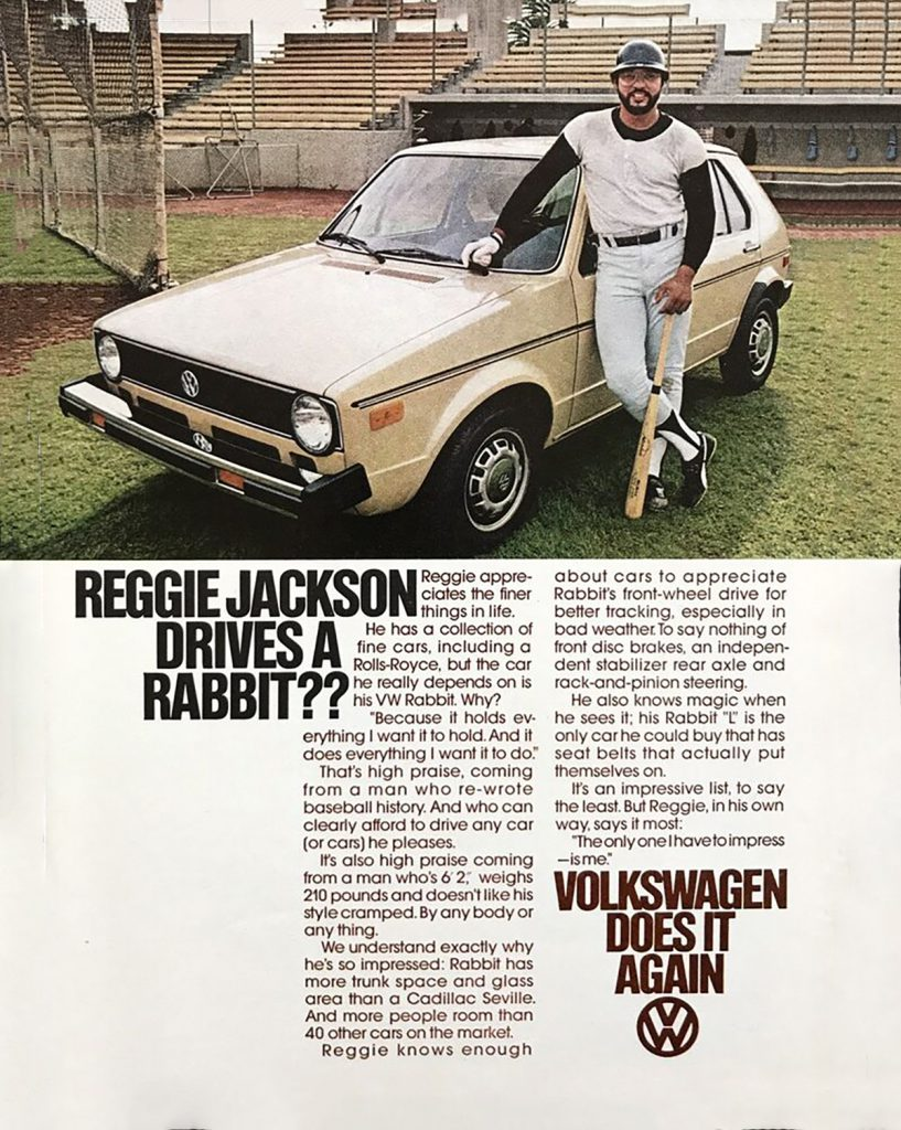 1978 Volkswagen Rabbit ad, Reggie Jackson, Baseball Themed Auto Ads