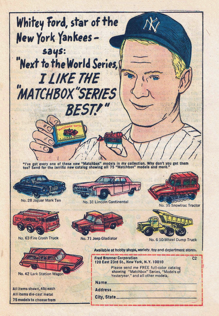 1985 Matchbox Ad, Whitey Ford, Baseball Themed Auto Ads