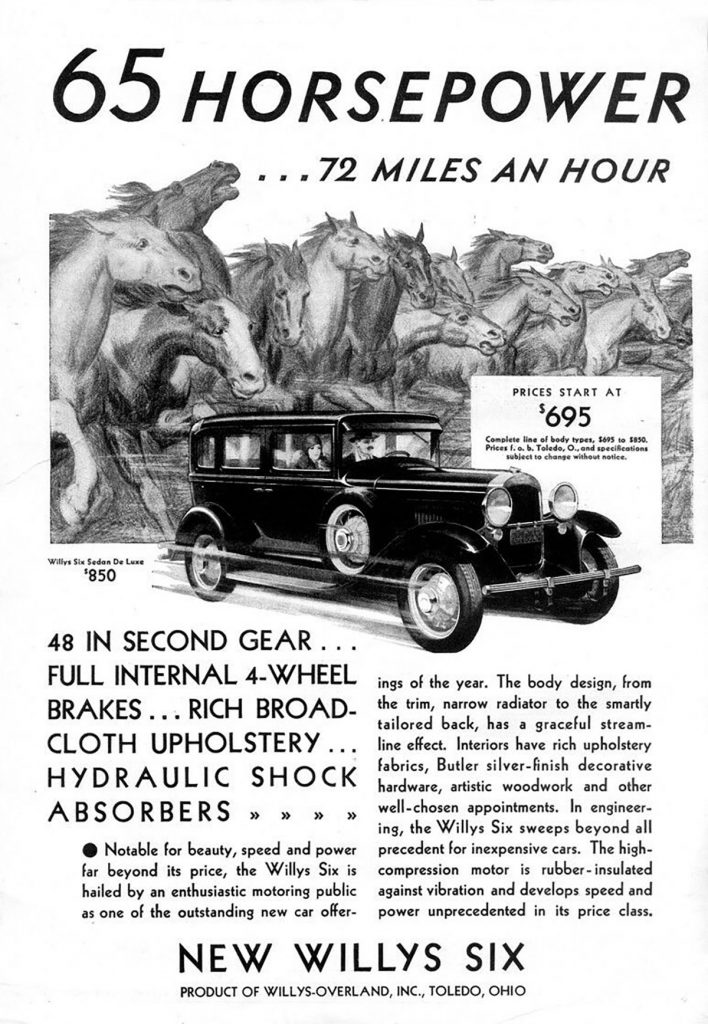 1930 Willys, Car Ads Featuring Horsepower