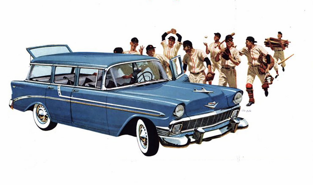 1956 Chevrolet, Baseball Themed Auto Ads