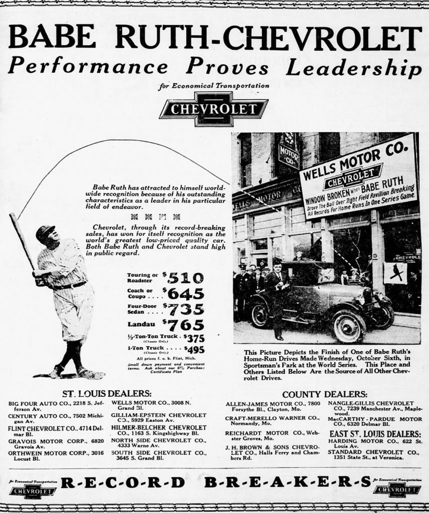 1926 Chevrolet Ad, Baseball Themed Auto Ad, Babe Ruth