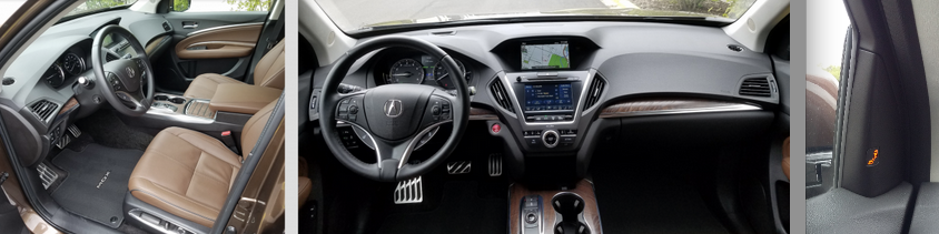Our MDX Sport Hybrid Advance boasted a very upscale interior, with lots of leather, wood, and padded surfaces. We also liked that the blind-spot alert light was on the roof pillar rather than the outside mirror.