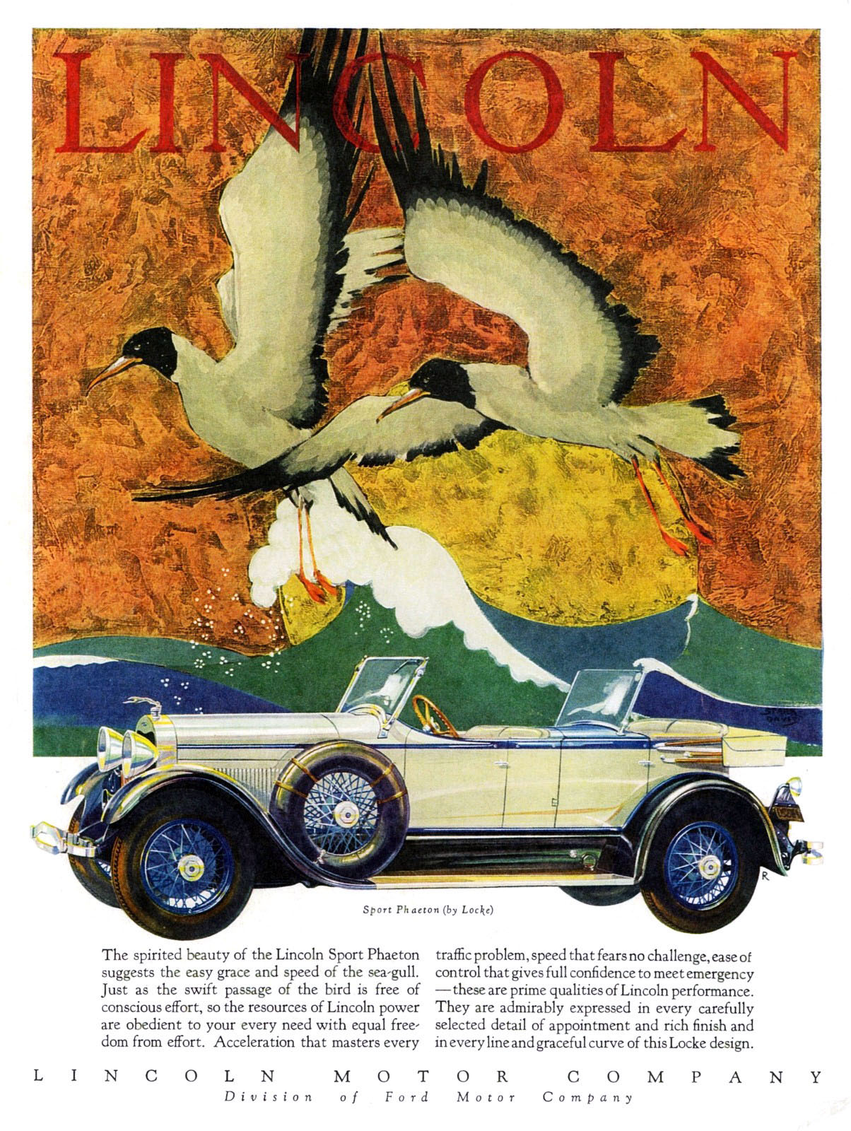 1928 Lincoln Ad, Lincoln Bird Ads, Classic Lincoln Ads