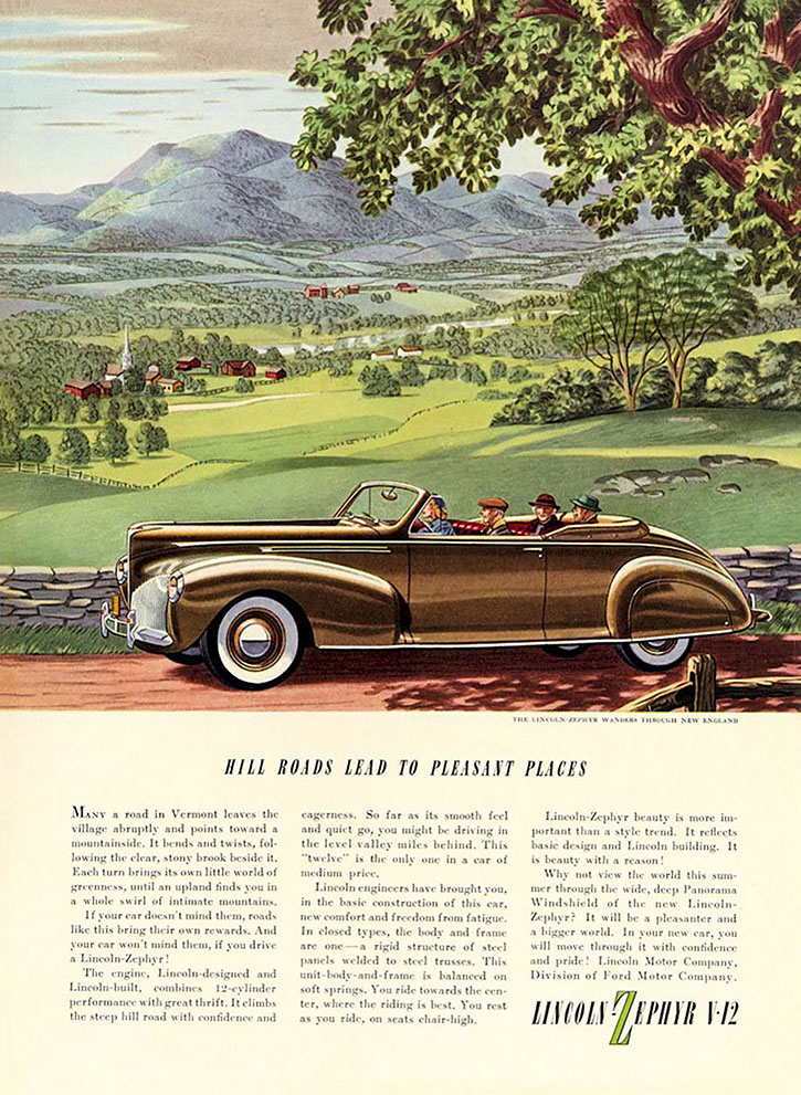 1940 Lincoln Zephyr Ad