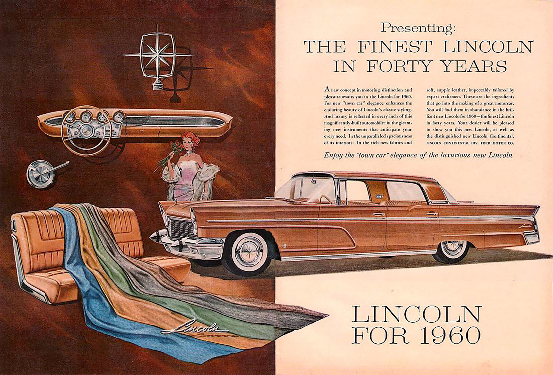 1960 Lincoln Ad, Finest Lincoln in Forty Years,