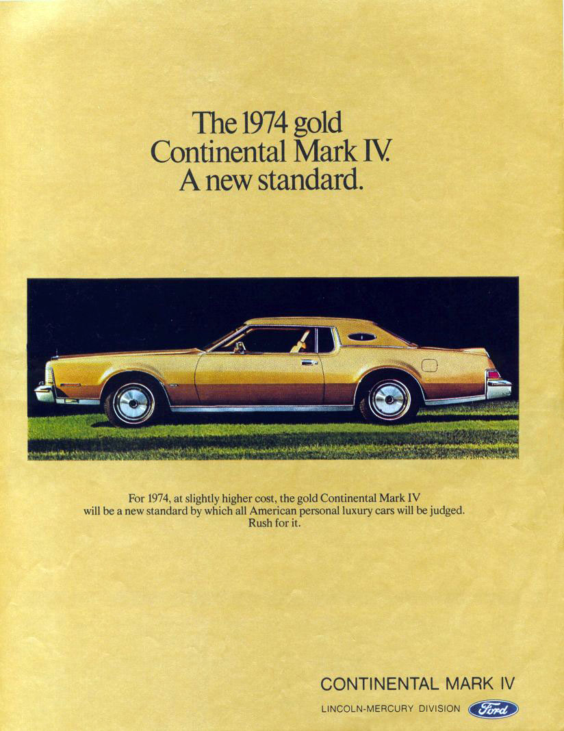 1974 Continental Mark IV ad, Gold Continental Mark IV