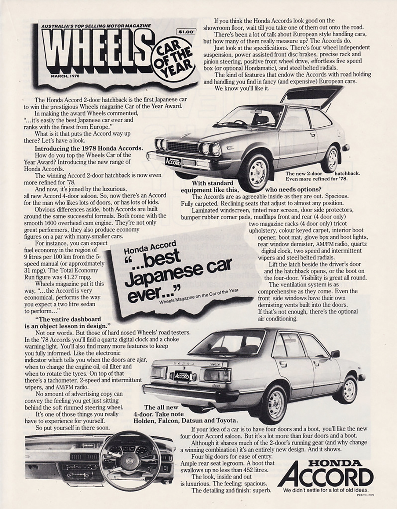1976 Honda Accord Ad