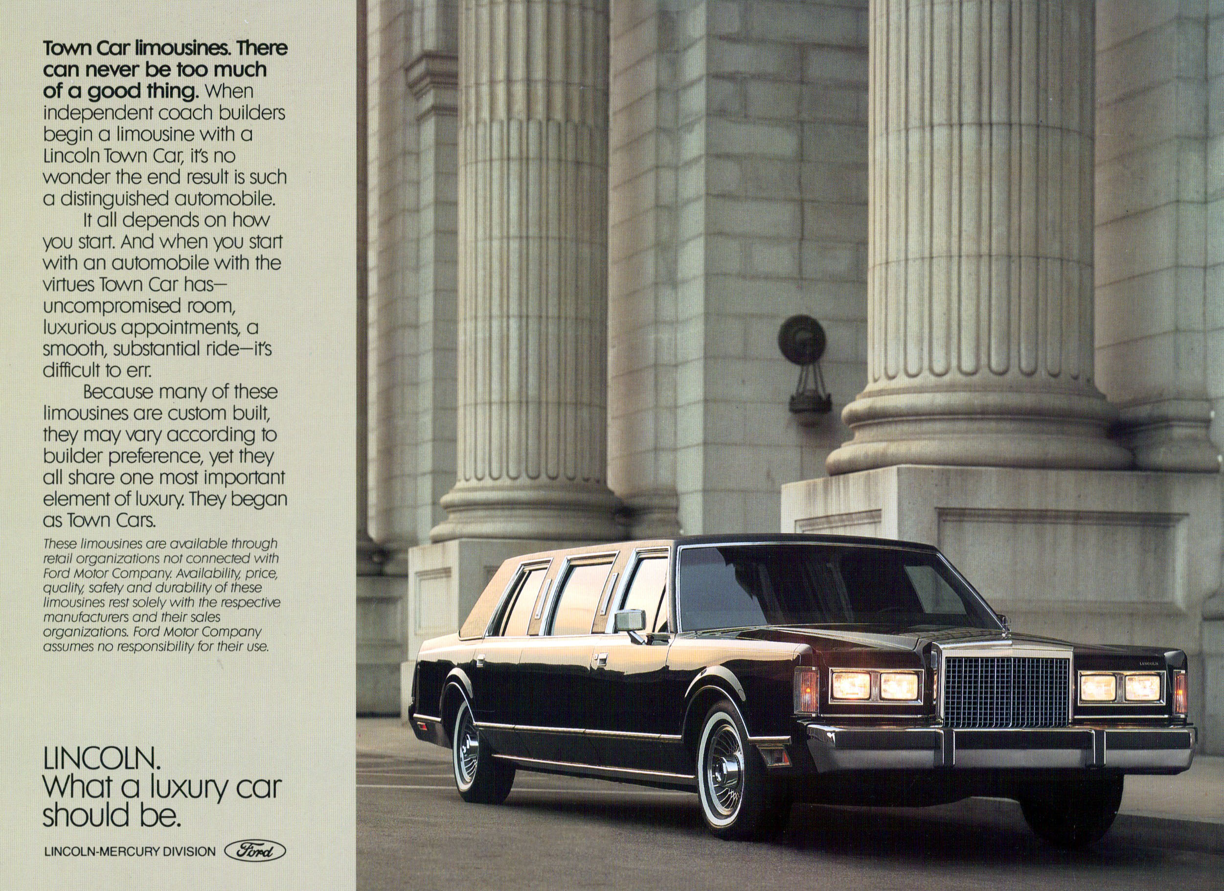 1987 Lincoln Town Car Limousine Ad