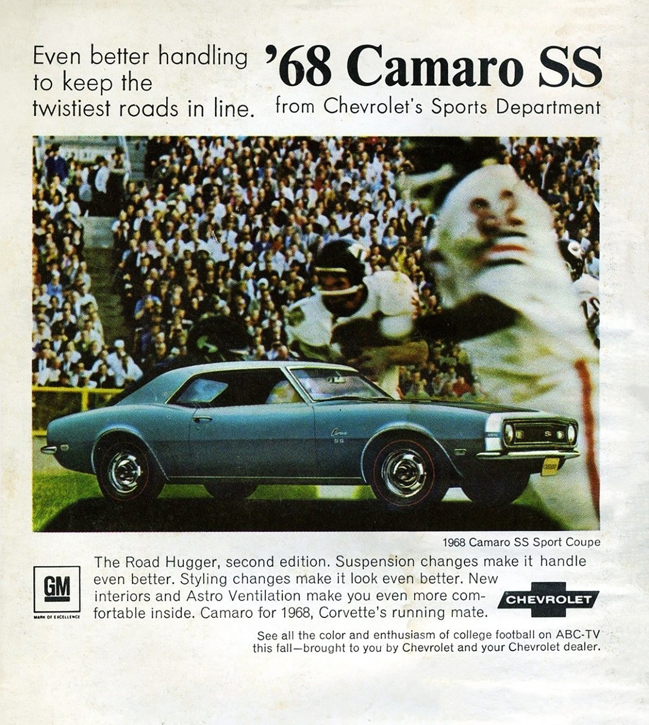 1968 Chevrolet Camaro Ad, Chicago Bears