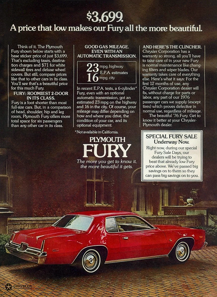 1976 Plymouth Fury Ad