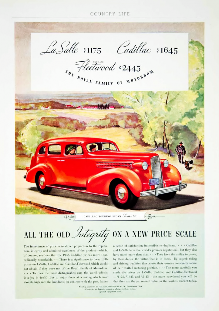 1936 Cadillac Ad, LaSalle, Fleetwood, Depression Era Car Ads
