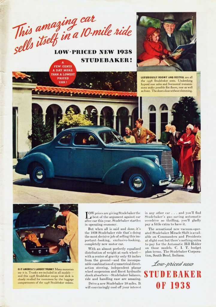 1938 Studebaker, Depression Era Car Ads