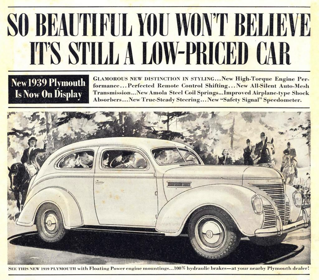 1939 Plymouth Ad, Depression-Era Car Ads