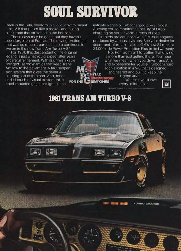 1981 Fiat Spider Turbo Ad 1981 Pontiac Trans Am Turbo V-8