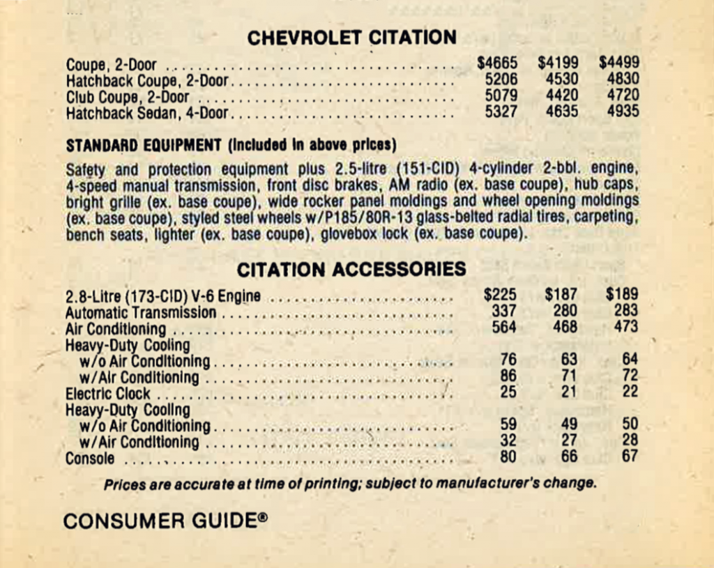 1980 Chevrolet Citation Prices and options