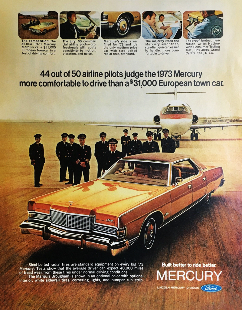 1973 Mercury Ad, Planes in Car Ads