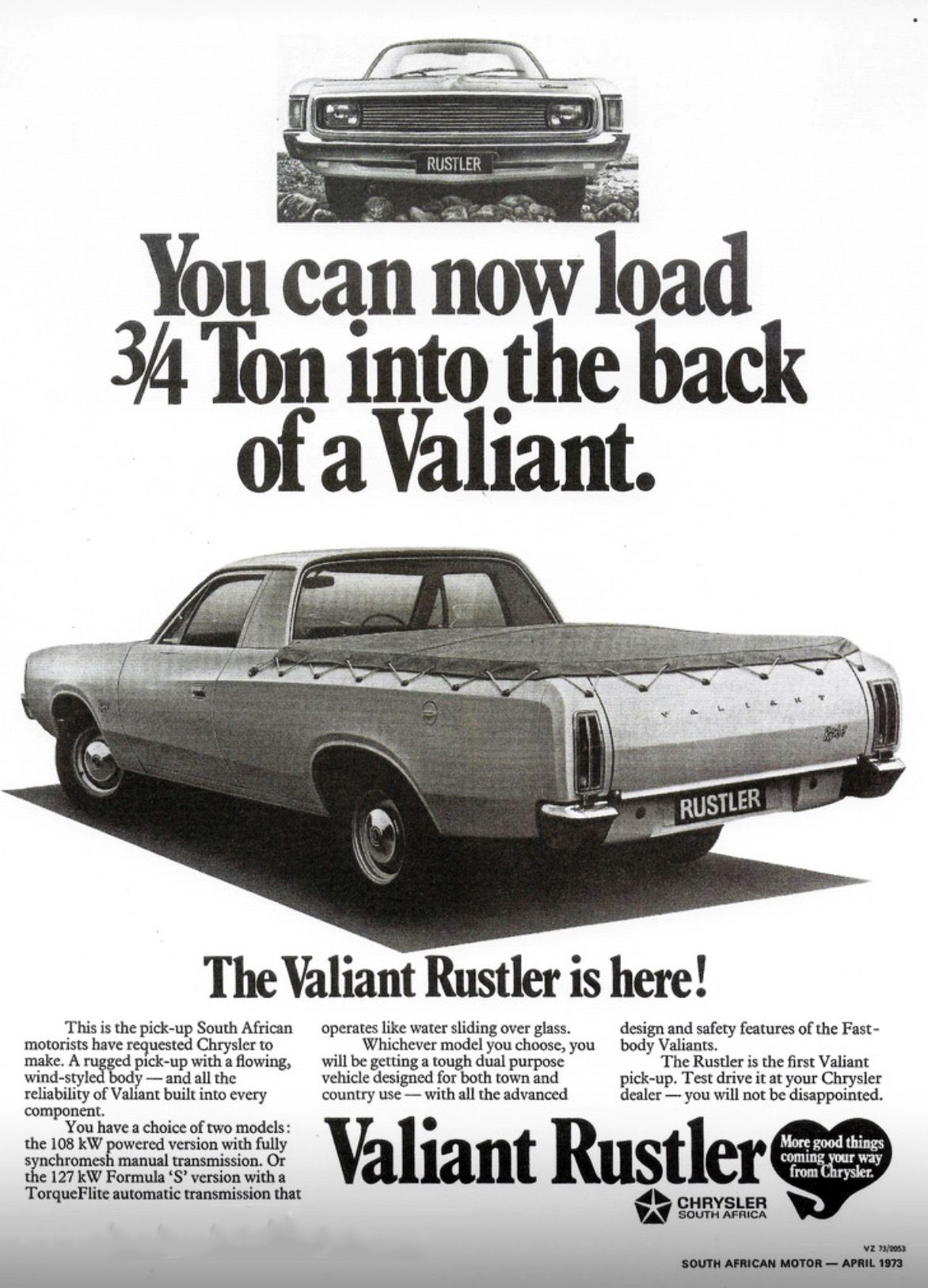 1973 Chrysler Valiant Rustler Ad (South Africa)