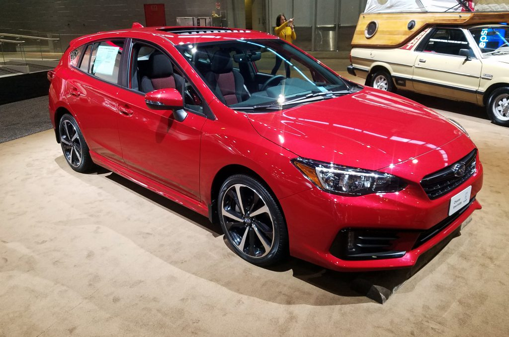 2020 Subaru Impreza hatchback in Lithium Red Pearl