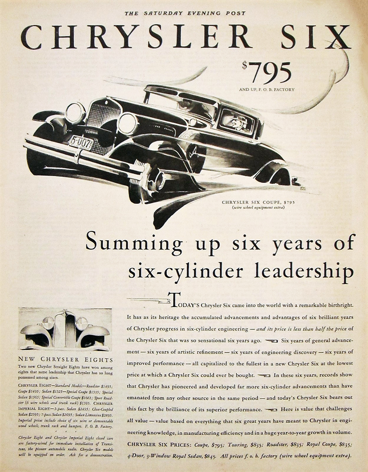 1930 Chrysler Ad, Cars in Motion