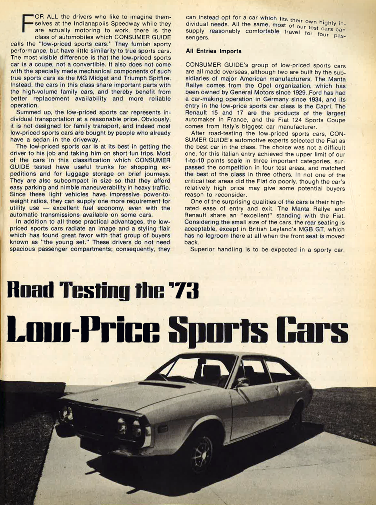Sports Cars on 1973
