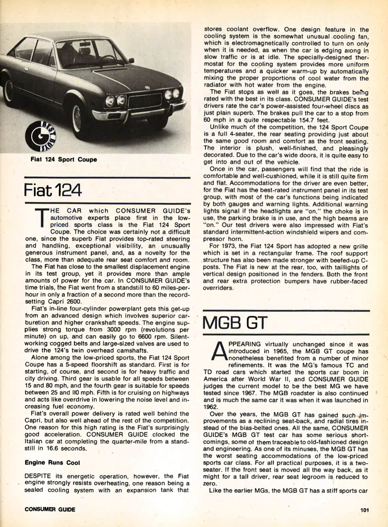 Sports Cars of 1973, 1973 Fiat 124 review, 1973 MGB GT review