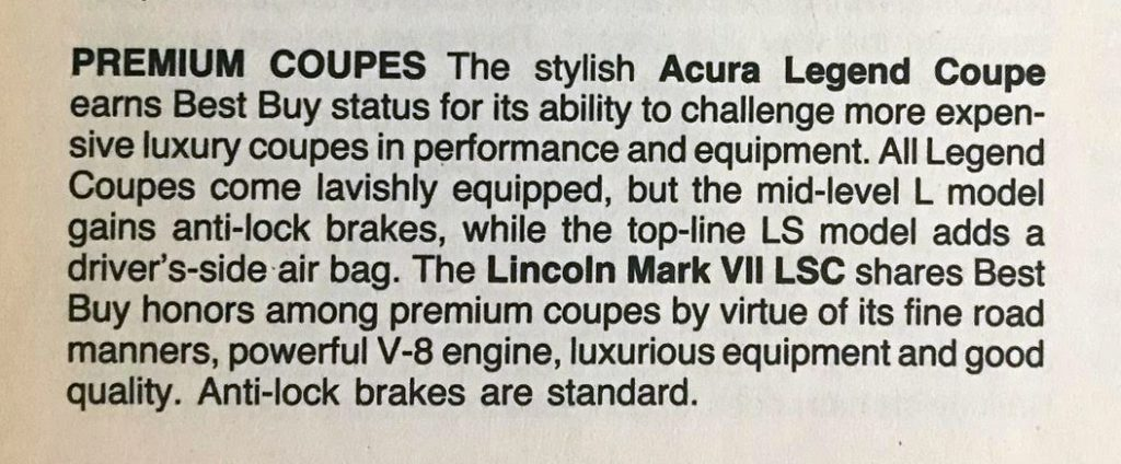 1988 Consumer Guide Best Buys