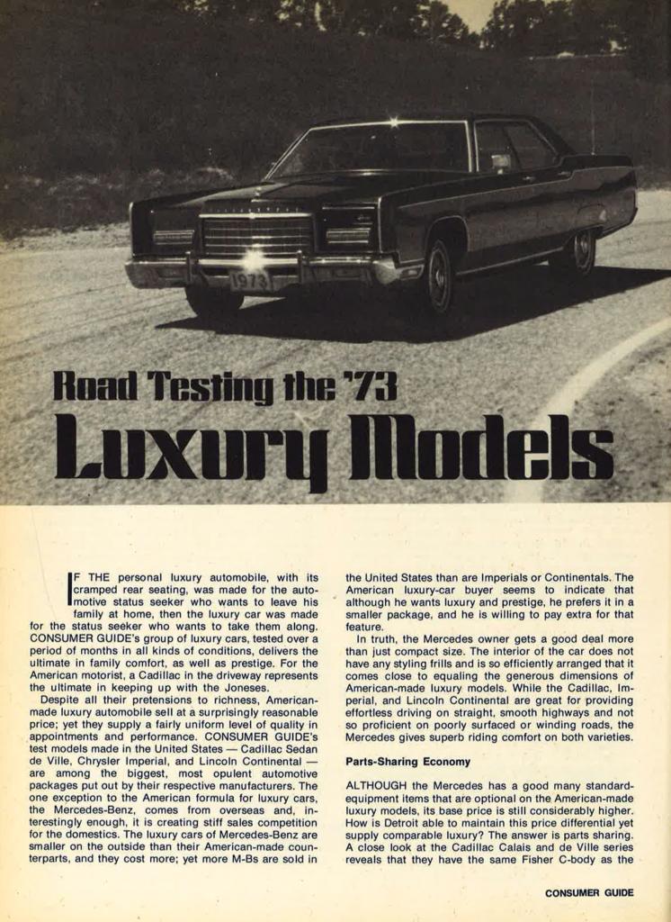 Luxury Sedans of 1973