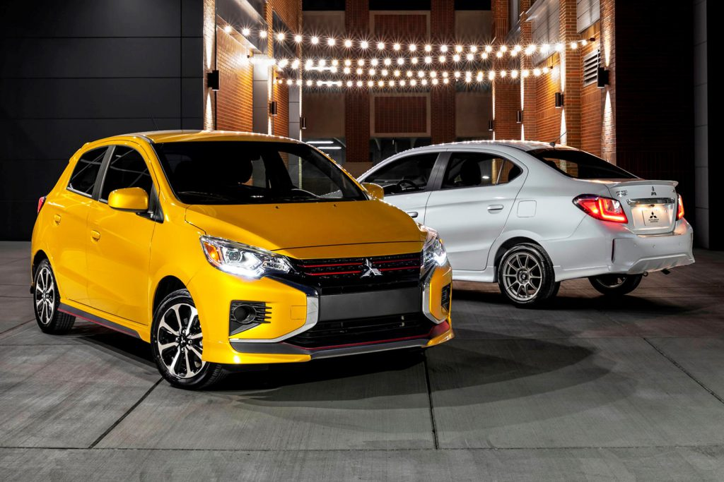 Mitsubishi Mirage (yellow) and Mirage G4