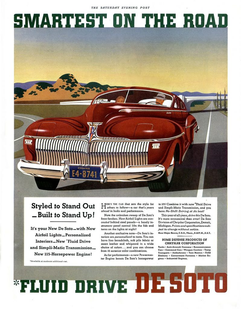 1942 DeSoto Ad, Cars With Hidden Headlamps
