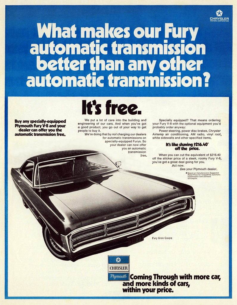 1971 Plymouth Ad